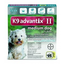 K9 Advantix II for Medium Dogs (11 - 20 lbs, 4 Month Supply)