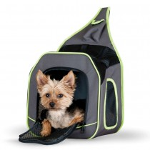 "K&H Pet Products Classy Go Sling Carrier Brown/Lime Green 11.81"" x 10.24"" x 12.99"" - KH1470"