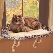 "K&H Pet Products Deluxe Kitty Sill with Bolster Leopard 14"" x 24"" x 10"" – KH9097"